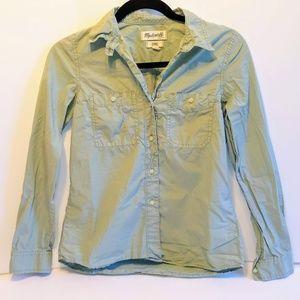 Madewell Tomboy Army Green Work Shirt Button Down